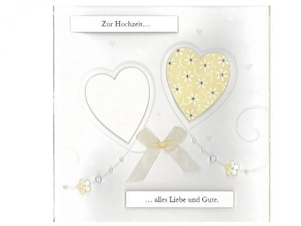 Vermählungskarte AvanCarte zwei Herzen 20x20,5cm