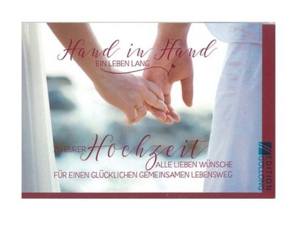 Vermählungskarte Gollong Hand in Hand ein Leben lang