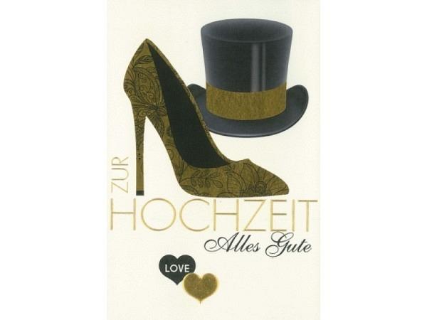 Vermählungskarte Borer Schuh und Zylinder gold und schwarz