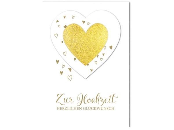 Vermählungskarte Braun Company A4 21x29,7, Doppelkarte bedruckt mit einem grossen Herz,
