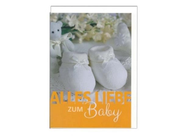 Ereigniskarte Gollong A4 Babyfinken und Text Alles Liebe zum Baby