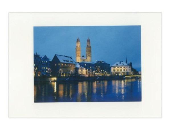 Doppelkarte Zürich A5 Original Fotografie mit Sicht auf die Limmat mit Grossmünster