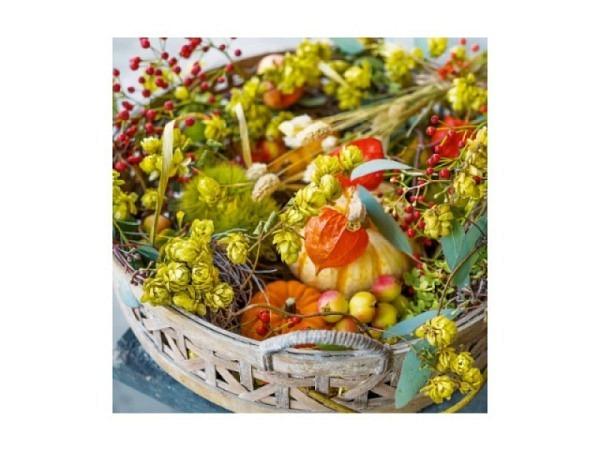 Karte Art Bula 12,2x12,2cm kleine violette Blüten am Strauch