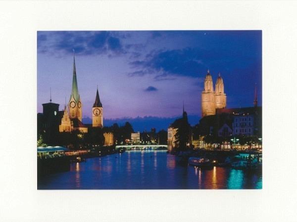 Doppelkarte Zürich A5 Original Fotografie im Mondschein