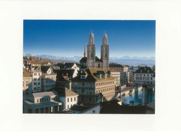 Doppelkarte Zürich A5 Original Fotografie Zürich Grossmünster, ohne Text, inkl. Couvert