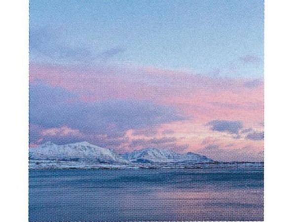 Karte Art Bula 12,2x12,2cm Abendrot über einem See im Winter