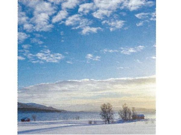 Karte Art Bula 12,2x12,2cm Sonnenuntergang im Winter