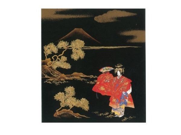 Karte Fukui 13x14,5cm schwarz-gold Geisha
