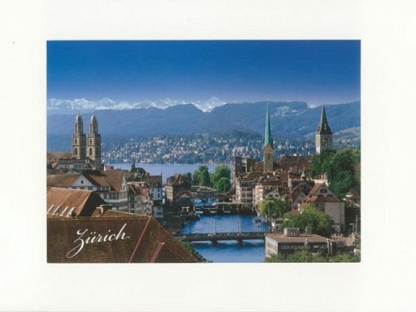 Doppelkarte Zürich A5 Original Fotografie mit Sicht auf die drei Kirchen und Zürichsee