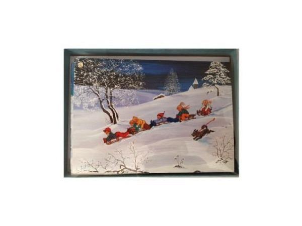 Kartenbox Winter 6er Set mit div. gemalten Winterszenen