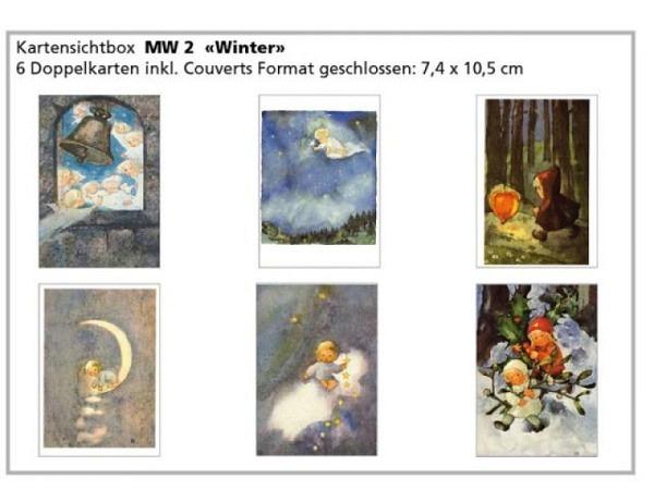 Kartenbox Weber Mili Wintermotive 6 Doppelkarten