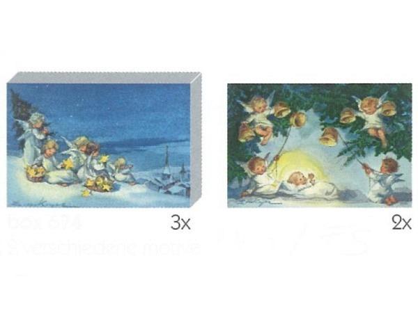 Kartenbox Art Bula 5er Set, 12,2x17,5cm Schneeglöckchen