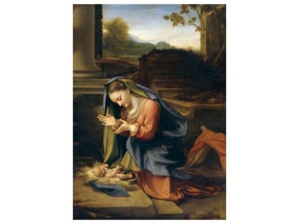 Weihnachtskarte Beuroner Kunstkarte Maria das Christkind anbetend