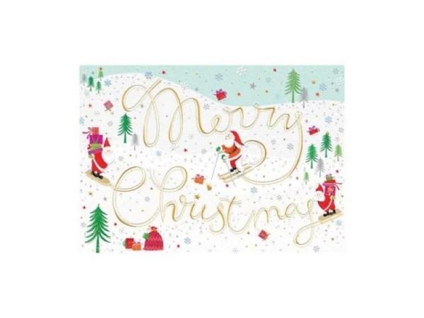 Weihnachtskarte Turnowsky Merry Christmas dunkelblau 12x17,5