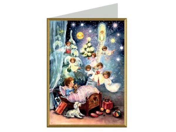 Adventskarte Sellmer Nr.40780 viele Kinder am Karusell