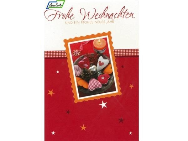Weihnachtskarte AvanCarte Exclusiv Stoffherzen, 11,6x16,6cm