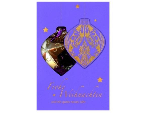 Weihnachtskarte Borer Weihnachtskugel violett mit Stanzung