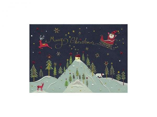 Weihnachtskarte Turnowsky Merry Christmas Tree schwarz
