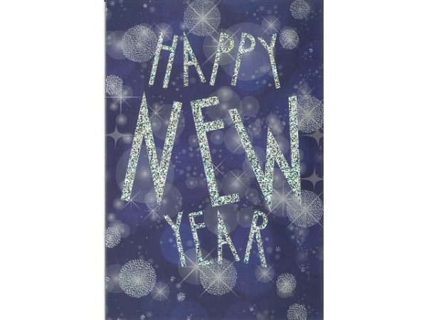 Neujahrskarte ABC Happy New Year 12x17,5cm
