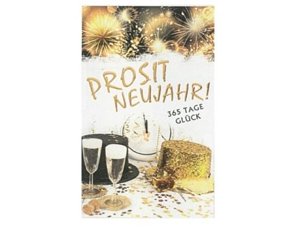 Neujahrskarte Borer 5er Set Prosit Neujahr 16x9,5cm