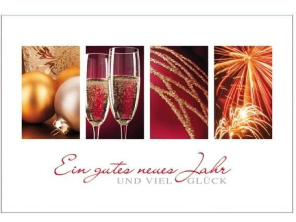 Neujahrskarte Borer rote Bilder von Feuerwerk und Sektgläsern