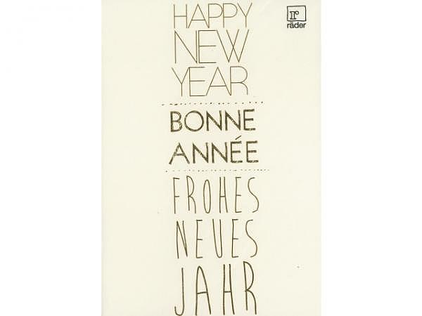 Neujahrskarte Räder Happy New Year 12x17cm