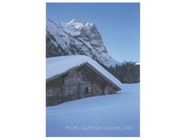 Neujahrskarte Art Bula 12,2x17,5cm Schneebedeckte Berghütte
