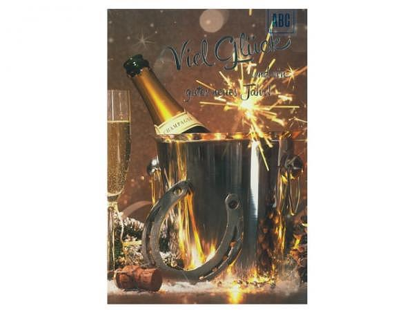 Neujahrskarte ABC Champagner im neuen Jahr