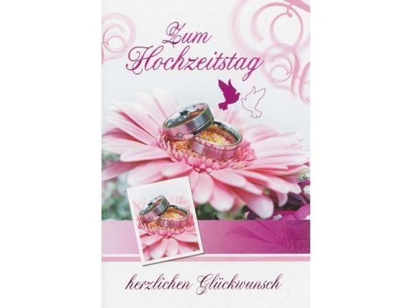 Karte Borer zum Hochzeitstag rosa Gerbera 11,5x17cm