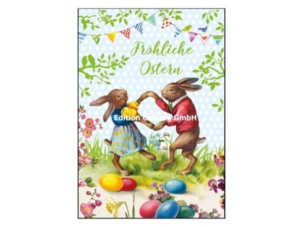 Osterkarte Gollong Fröhliche Ostern Hasentanz