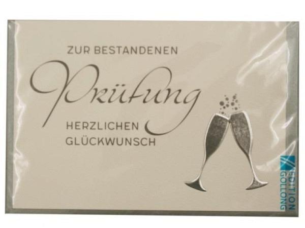 Karte Gollong zur Prüfung, 12x17,1cm, Doppelkarte Sektgläser