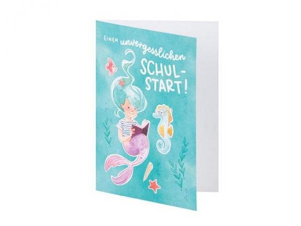 Glückwunschkarte Rössler Lotta B6, mit Text einen unvergesslichen Schulstart, bedruckt mit Meerjungfrau und Fische
