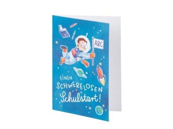 Glückwunschkarte Rössler Carlo B6 blau, mit Text einen schwerelosen Schulstart, bedruckt mit Carlo Astronaut
