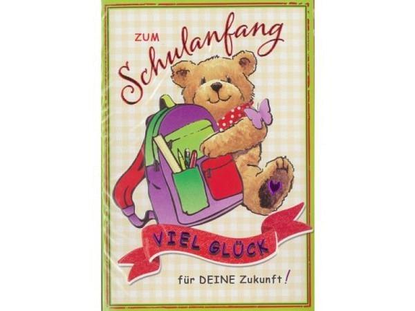 Karte Borer Schulanfang Teddybär mit Rucksack 11,5x17cm