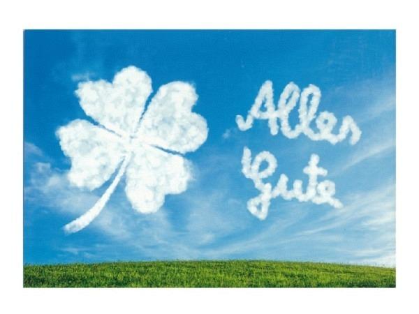 Glückwunschkarte Hartung Kleeblatt und Schriftzug aus Wolken, mit Text Alles Gute, 12,5x17,6cm, Doppelkarte, ohne Einlageblatt, mit farbigem Couvert