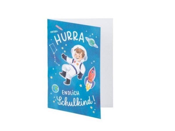 Glückwunschkarte Rössler Carlo B6 blau, mit Text Hurra endlich Schulkind, bedruckt mit Carlo Astronaut