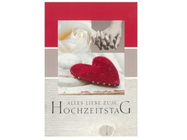 Karte ABC Hochzeitstag Herz rot 12,5x17,5cm