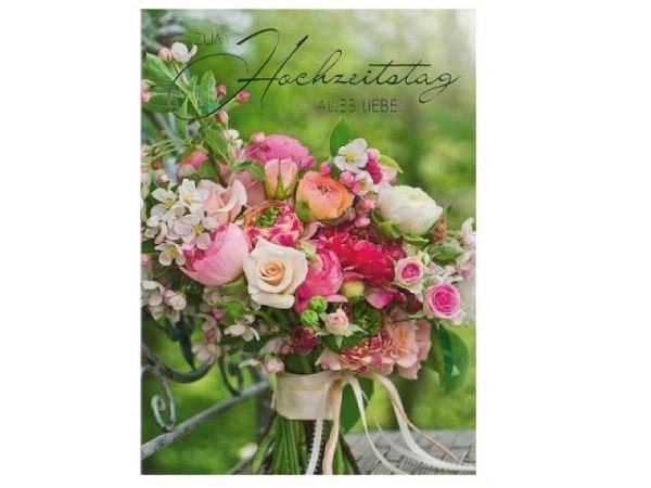 Karte ABC Hochzeitstag Blumenstrauss 12,5x17,5cm