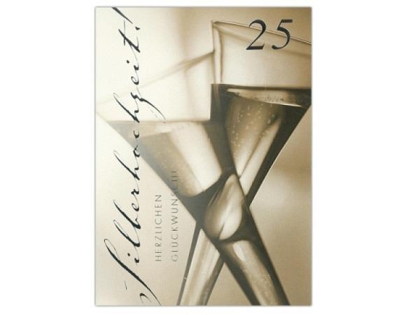 Karte ABC 25.Hochzeitstag Silberhochzeit Champagner