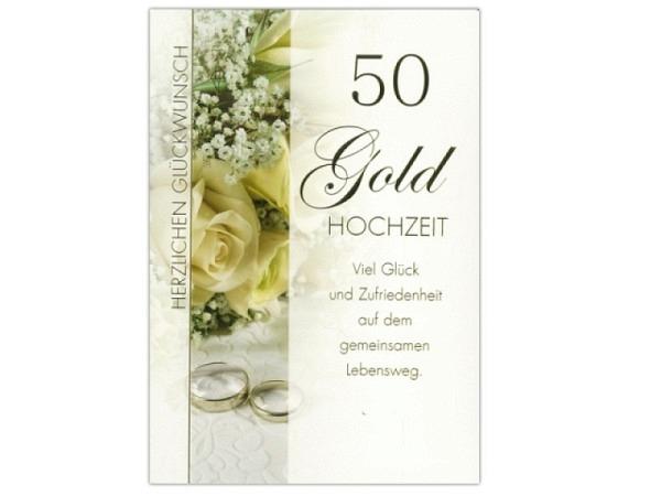 Karte ABC 50. Hochzeitstag Goldene Hochzeit Rosenstrauss