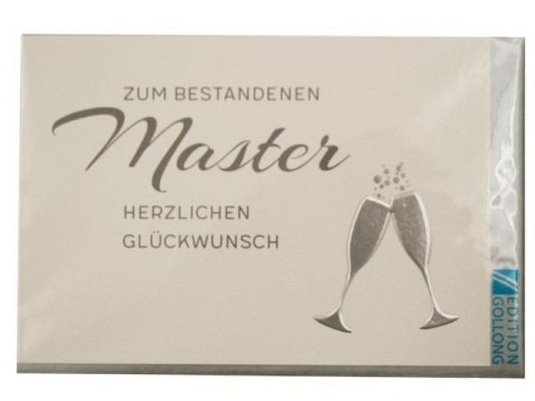 Karte Gollong zum Master, 12x17,1cm, Doppelkarte Sektgläser