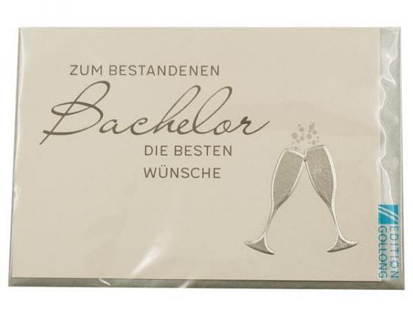 Karte Gollong zum Bachelor, 12x17,1cm, Doppelkarte Sektgläser