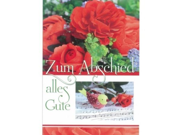 Abschiedskarte Gollong Zum Abschied, Doppelkarte A4, Rosen