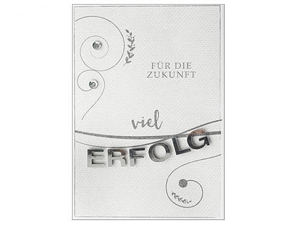 Abschiedskarte Hartung Best Words für die Zukunft viel Erfolg, Doppelkarte 12x17cm, mit 3D-Appikation, ohne Einlageblatt, inkl. weisem Couvert mit gummiertem Spitzverschluss<br>
