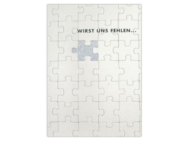 Abschiedskarte ABC Puzzleteile weiss 12,5x17,5cm