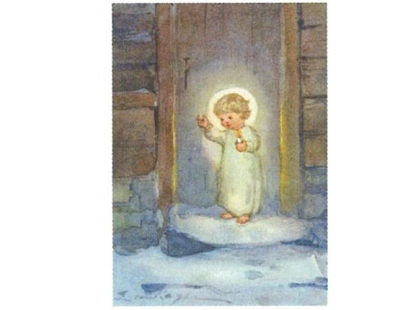 Postkarte Art Bula 10,5x14,8cm, Engel mit Kerze, Holzhaus