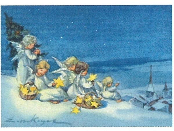 Postkarte Art Bula 10,5x14,8cm Engel mit Sternen im Korb