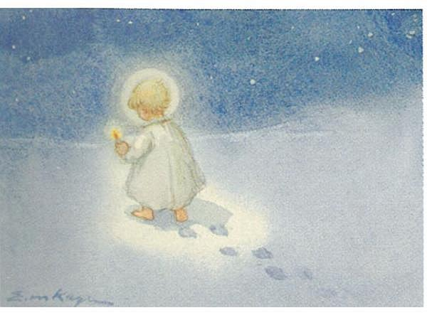 Postkarte Art Bula 10,5x14,8cm kleiner Engel mit Kerze