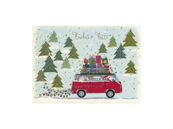 Postkarte Turnowsky Weihnachten Weihnachtsdorf rot