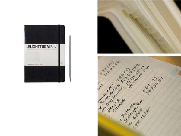 Adressbuch Leuchtturm Pocket Hardcover schwarz, 9x15cm